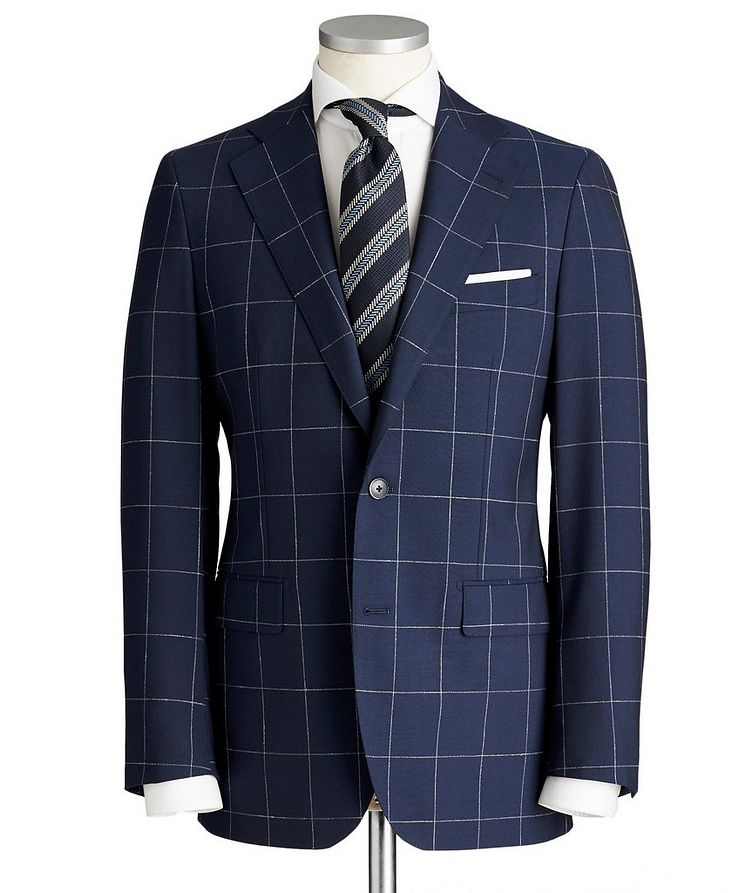 Slim Fit Windowpane Checked Suit image 0