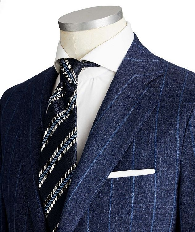 Slim Fit Pinstriped Wool, Silk & Linen Suit picture 2