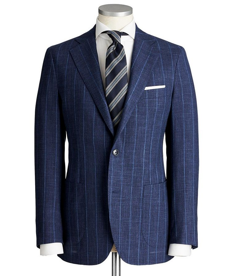 Slim Fit Pinstriped Wool, Silk & Linen Suit image 0