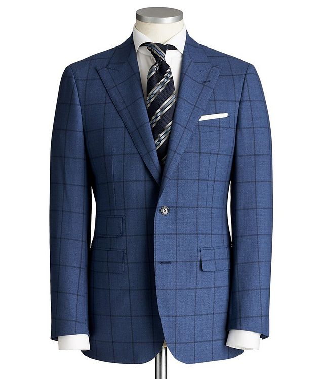 Slim Fit Windowpane-Checked Suit picture 1