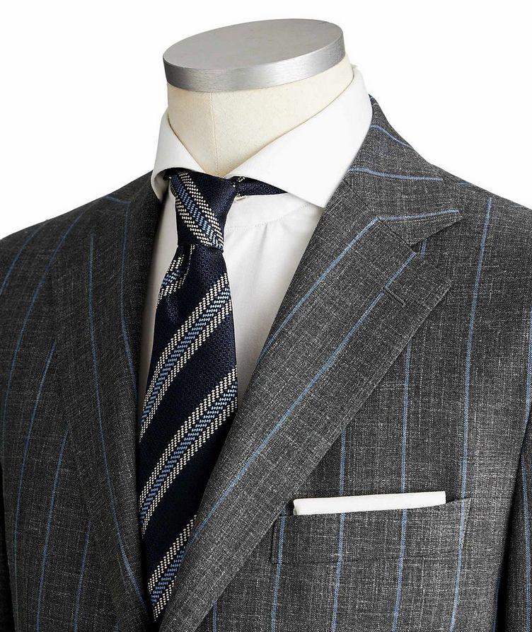 Slim Fit Pinstriped Wool, Silk & Linen Suit image 1