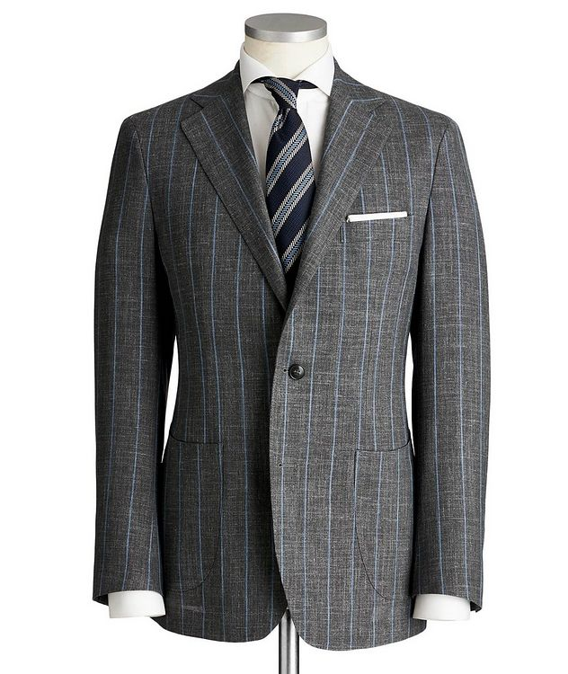 Slim Fit Pinstriped Wool, Silk & Linen Suit picture 1