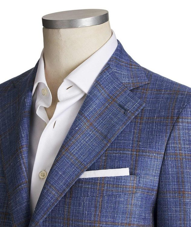Unstructured Windowpane Wool, Silk & Linen Tweed Sports Jacket picture 2