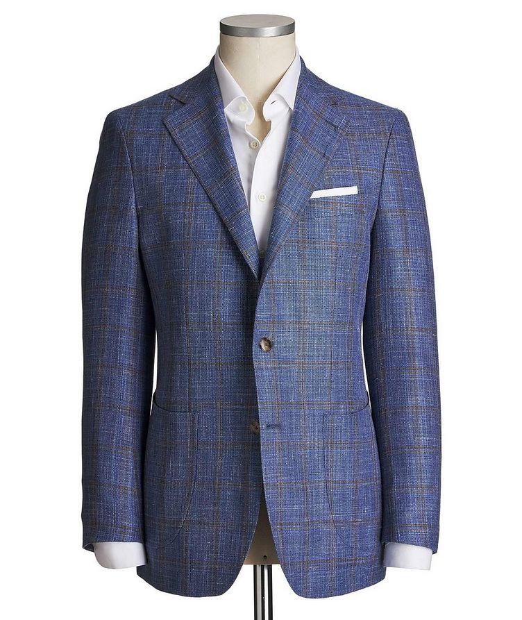 Unstructured Windowpane Wool, Silk & Linen Tweed Sports Jacket image 0