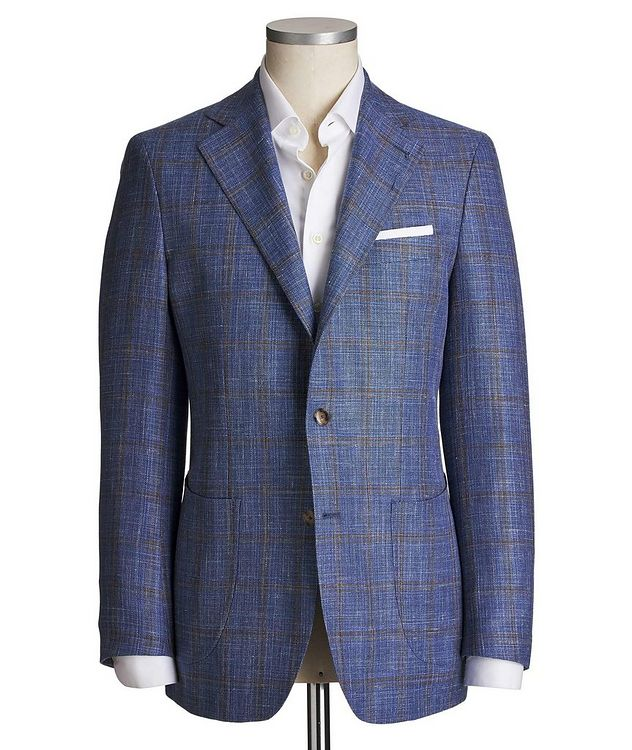 Unstructured Windowpane Wool, Silk & Linen Tweed Sports Jacket picture 1