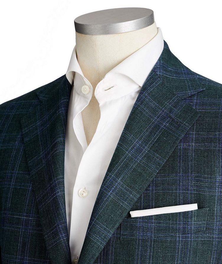 Unstructured Glen-Checked Wool, Silk & Linen Sports Jacket image 1