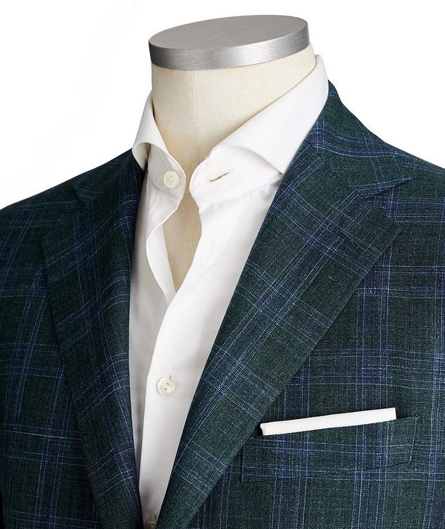 Unstructured Glen-Checked Wool, Silk & Linen Sports Jacket picture 2