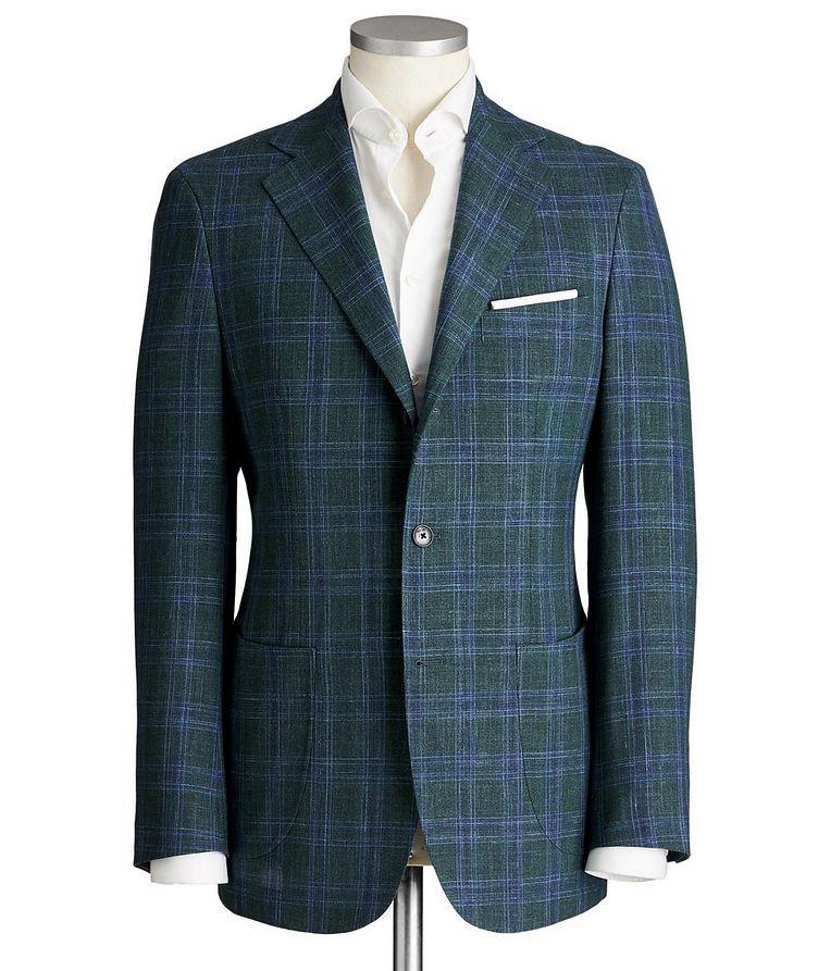 Unstructured Glen-Checked Wool, Silk & Linen Sports Jacket image 0
