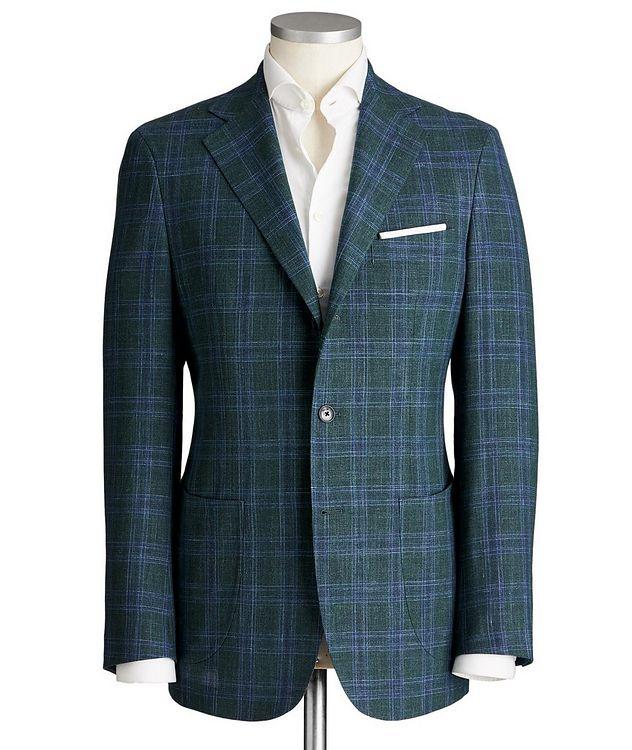 Unstructured Glen-Checked Wool, Silk & Linen Sports Jacket picture 1