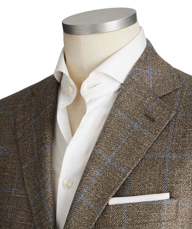 Unstructured Windowpane Wool, Silk & Linen Sports Jacket image 1