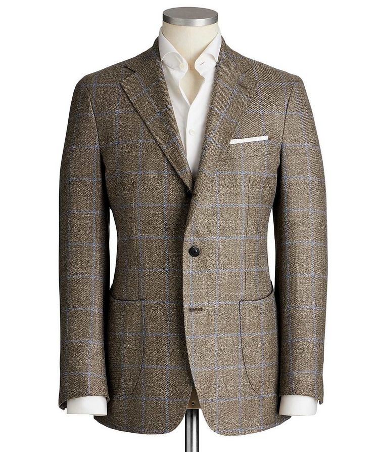 Unstructured Windowpane Wool, Silk & Linen Sports Jacket image 0