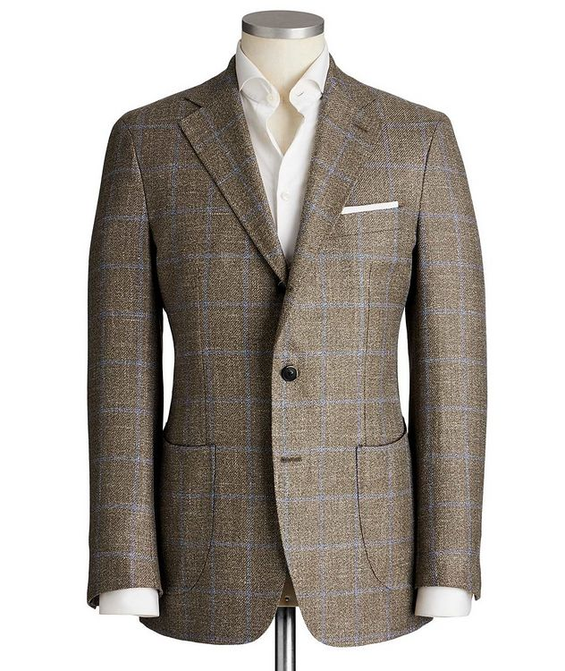 Unstructured Windowpane Wool, Silk & Linen Sports Jacket picture 1