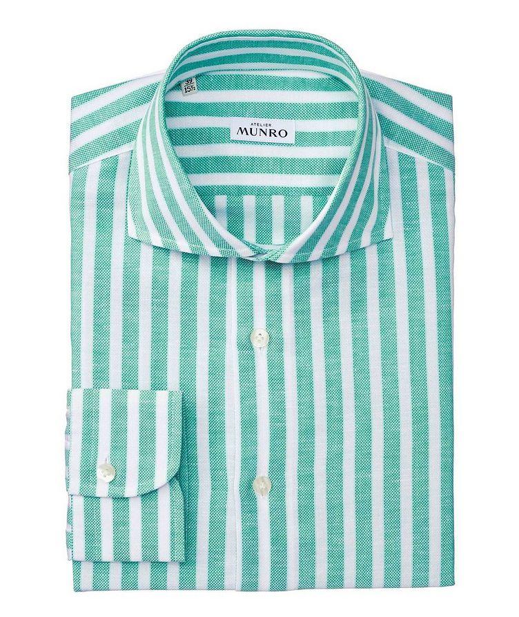 Slim Fit Striped Cotton-Linen Dress Shirt image 0