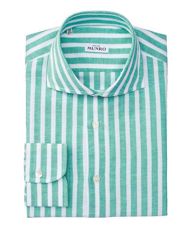 Slim Fit Striped Cotton-Linen Dress Shirt picture 1