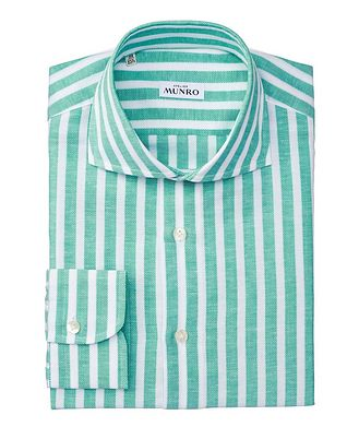 Atelier Munro Slim Fit Striped Cotton-Linen Dress Shirt