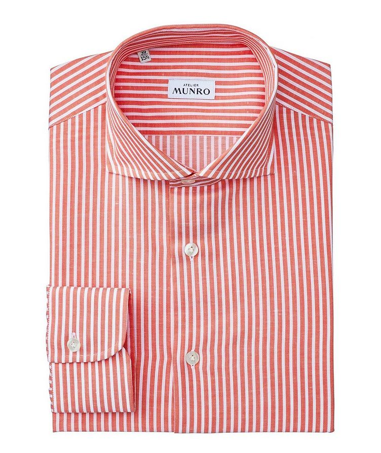 Slim Fit Striped Cotton-Linen Dress Shirt image 0