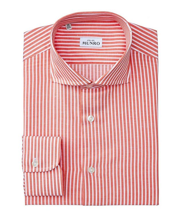 Slim Fit Striped Cotton-Linen Dress Shirt picture 1
