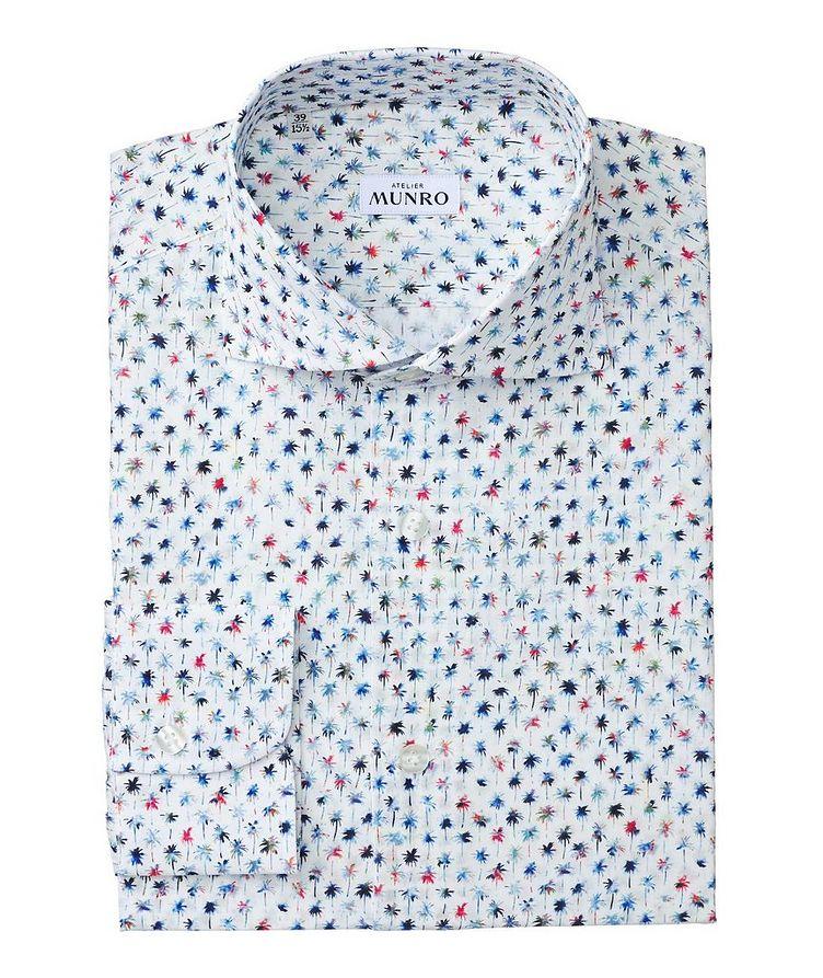 Slim Fit Palm Tree-Printed Cotton Dress Shirt image 0