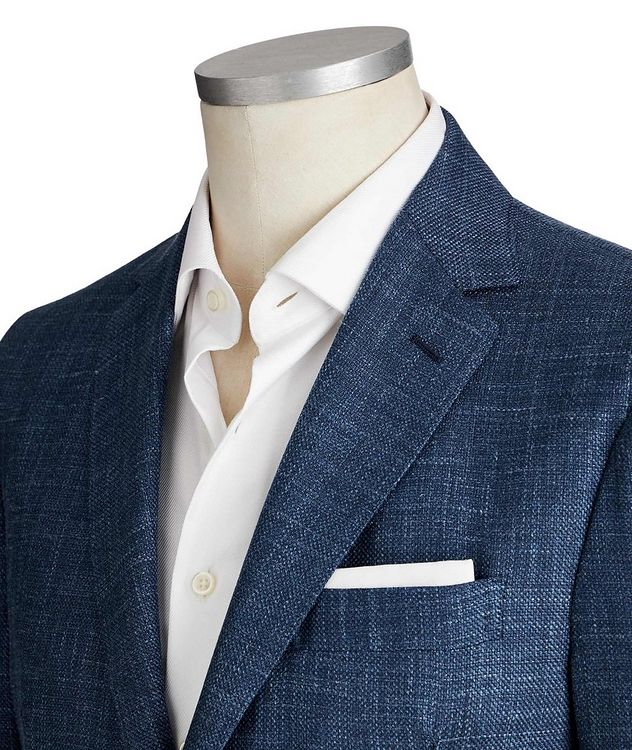 Crosshatched Wool, Silk & Linen Sports Jacket picture 2