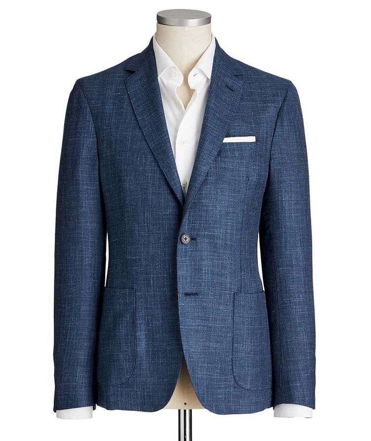 Crosshatched Wool, Silk & Linen Sports Jacket image 0