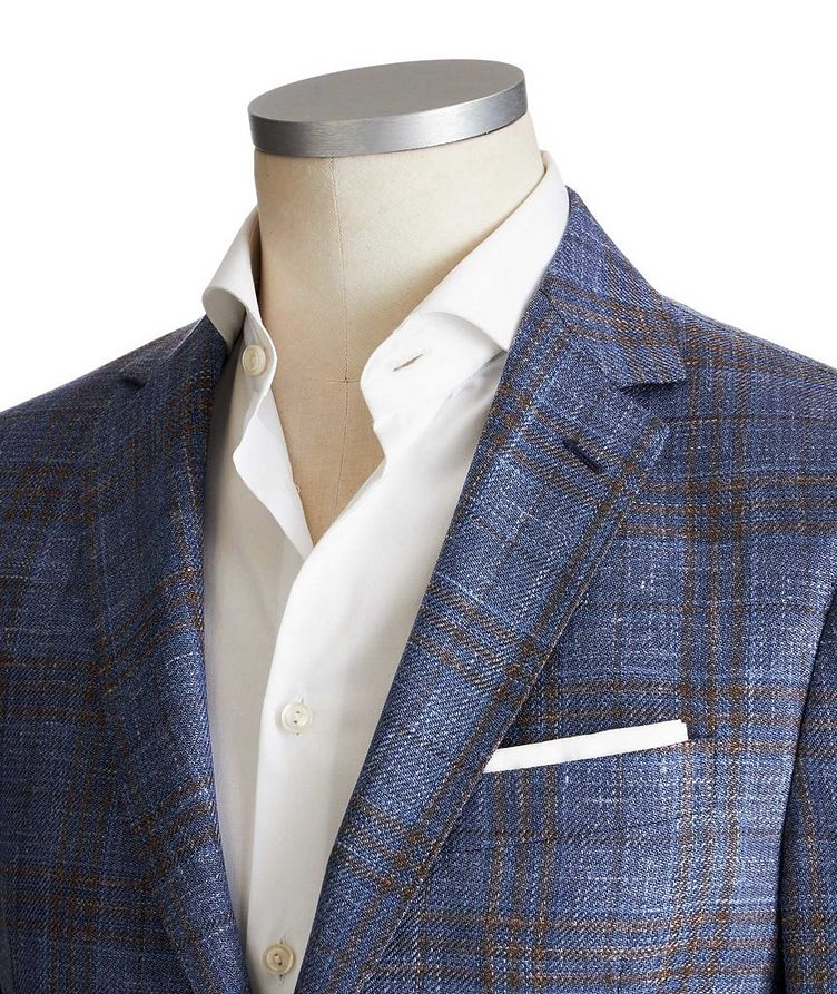 Checked Wool, Silk & Linen Sports Jacket image 1