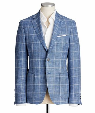 Maurizio Baldassari Windowpane Wool, Silk & Linen Sports Jacket