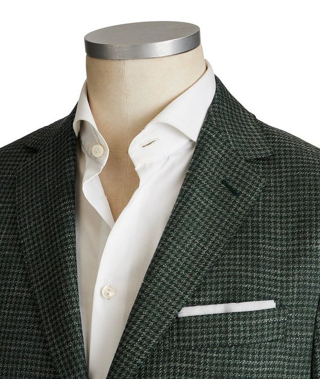 Houndstooth Wool, Silk & Linen Sports Jacket picture 2