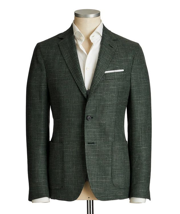 Houndstooth Wool, Silk & Linen Sports Jacket picture 1
