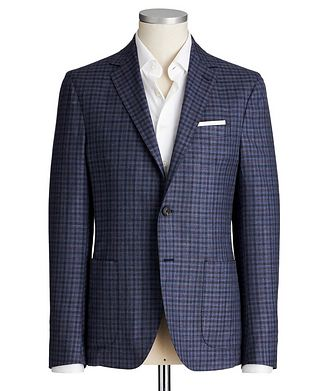 Maurizio Baldassari Gingham Wool, Silk & Linen Sports Jacket