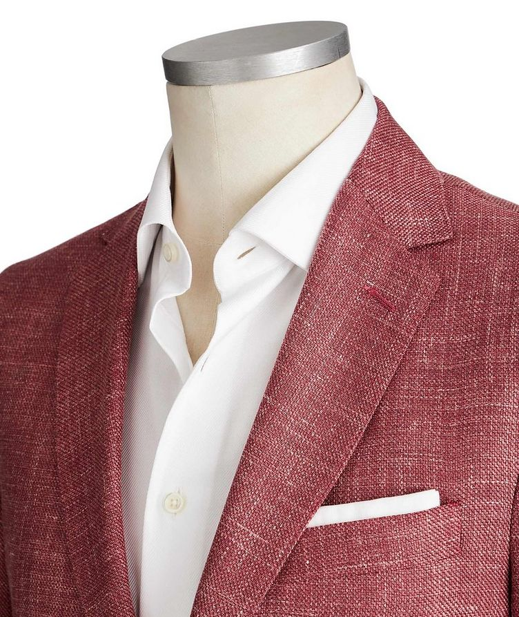 Crosshatched Wool, Silk & Linen Sports Jacket image 1