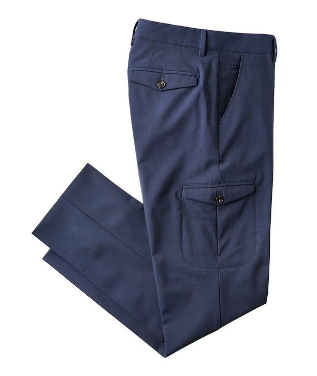 Slim Fit Stretch-Wool Cargo Dress Pants picture 1