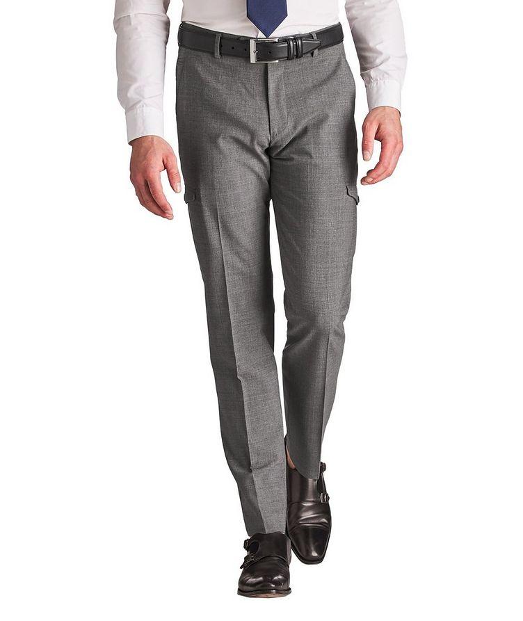 Pantalon habillé en laine extensible de coupe amincie image 0