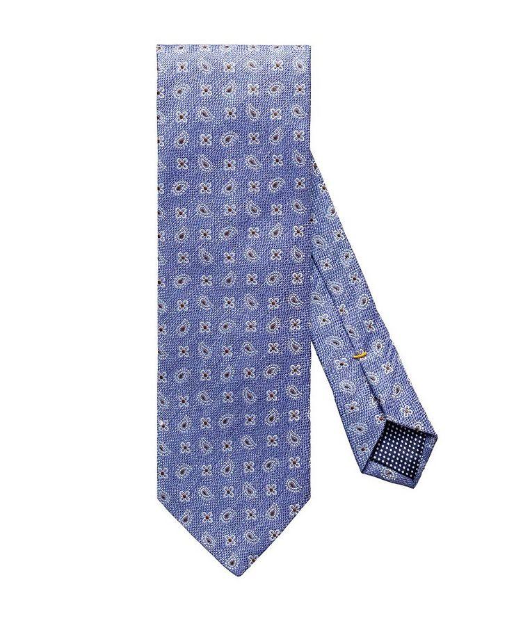 Neat-Printed Silk-Linen Tie image 0