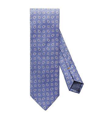 Eton Neat-Printed Silk-Linen Tie