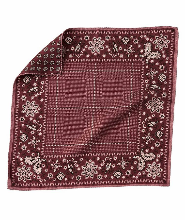 Paisley-Printed Silk Pocket Square image 0