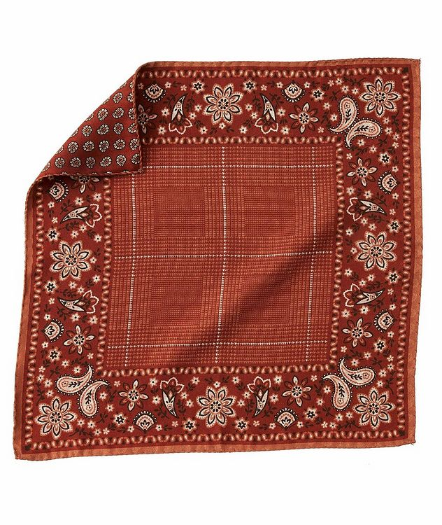 Paisley-Printed Silk Pocket Square picture 1