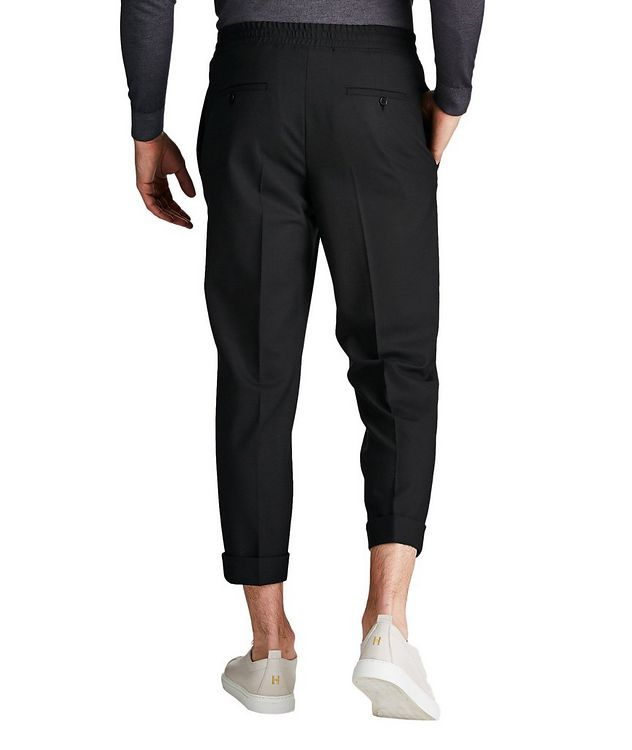 Drawstring Waist Stretch Wool Blend Pants picture 2