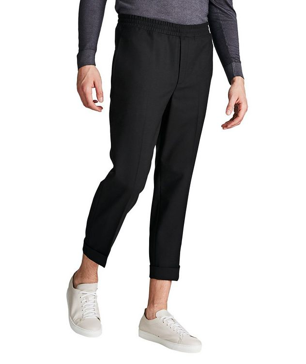 Drawstring Waist Stretch Wool Blend Pants picture 1