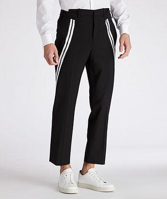 Neil Barrett Slim Fit Striped Gabardine Stretch Wool Pants