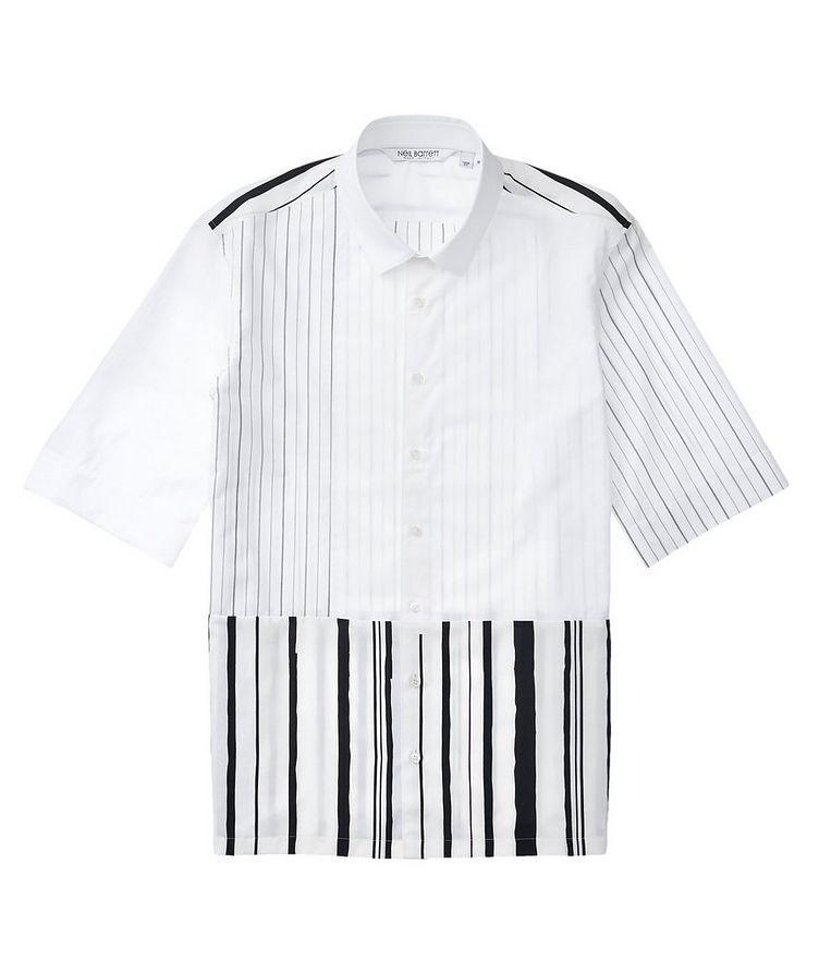 Short-Sleeve Striped Cotton-Blend Shirt image 0