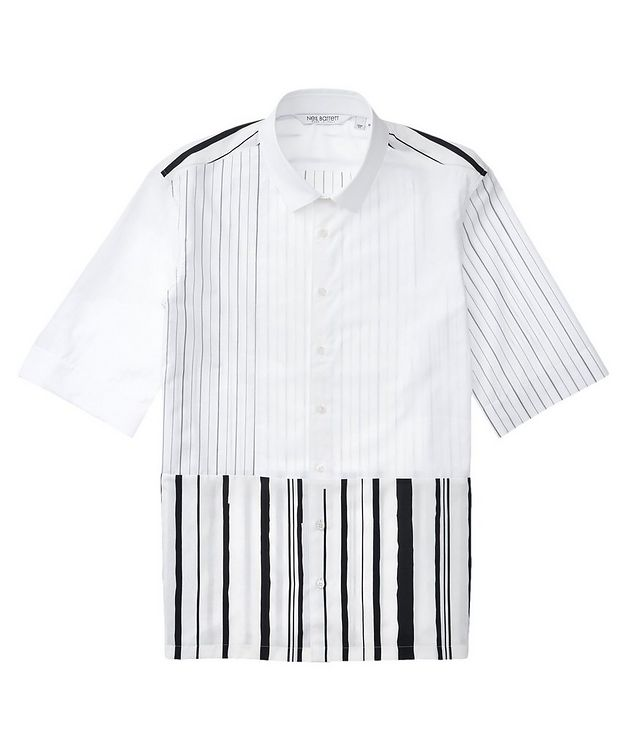Short-Sleeve Striped Cotton-Blend Shirt picture 1