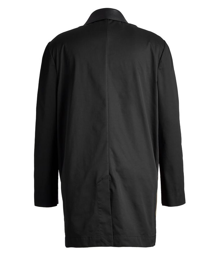 Leather and Gabardine Color-Blocked Trench Coat image 1
