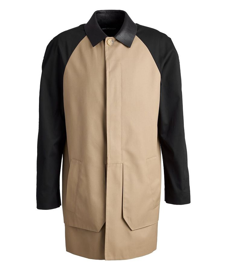Leather and Gabardine Color-Blocked Trench Coat image 0