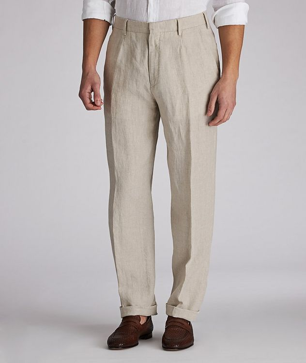 Contemporary-Fit Linen Trousers picture 1
