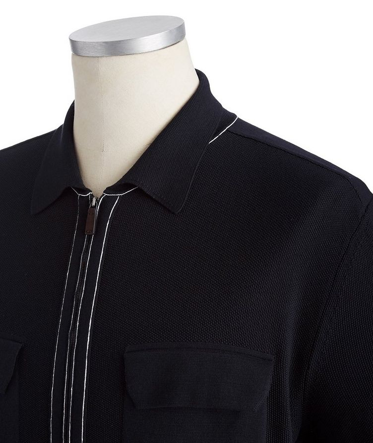 Zip-Up Cotton-Silk Polo image 1