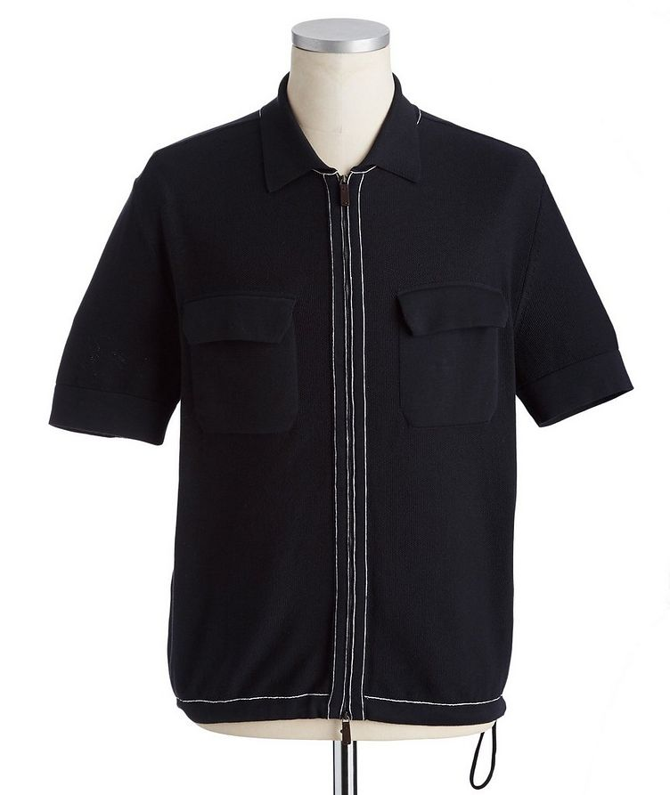 Zip-Up Cotton-Silk Polo image 0