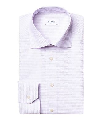 Eton Contemporary Fit Textured-Grid Dress Shirt