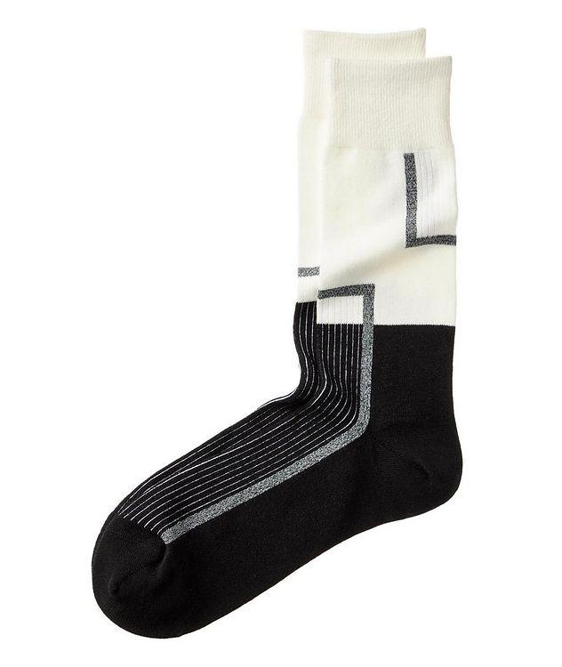Chaussettes en coton extensible à motif géométrique picture 1
