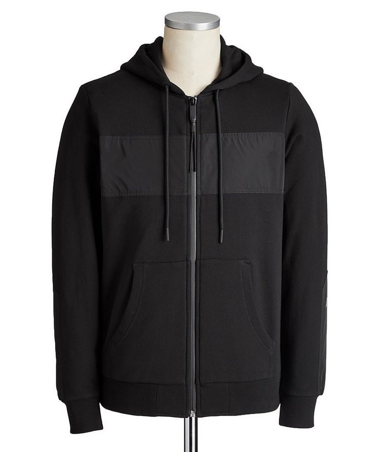 Diex Zip-Up Mixed-Media Hoodie image 0