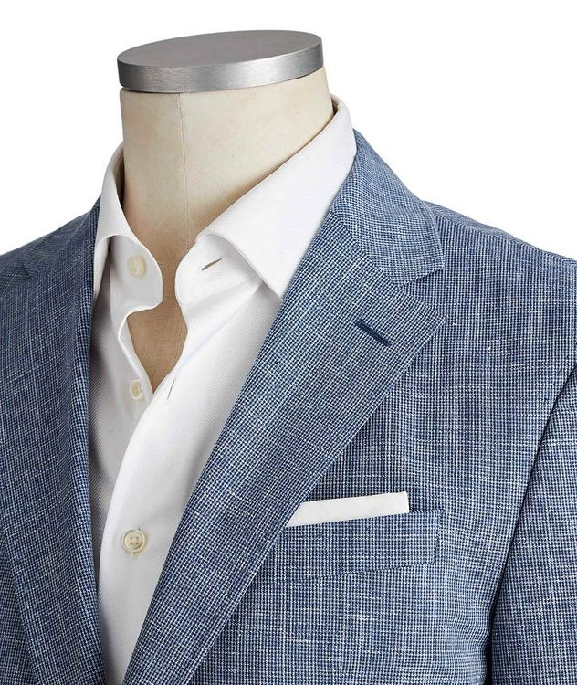 Slim Fit Mini-Houndstooth Wool, Cotton & Linen Sports Jacket picture 2